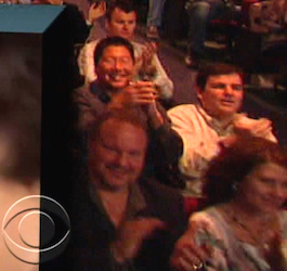 "Steve and I in the Late Show audience, 28 years after our ""MacLetterman"" project."